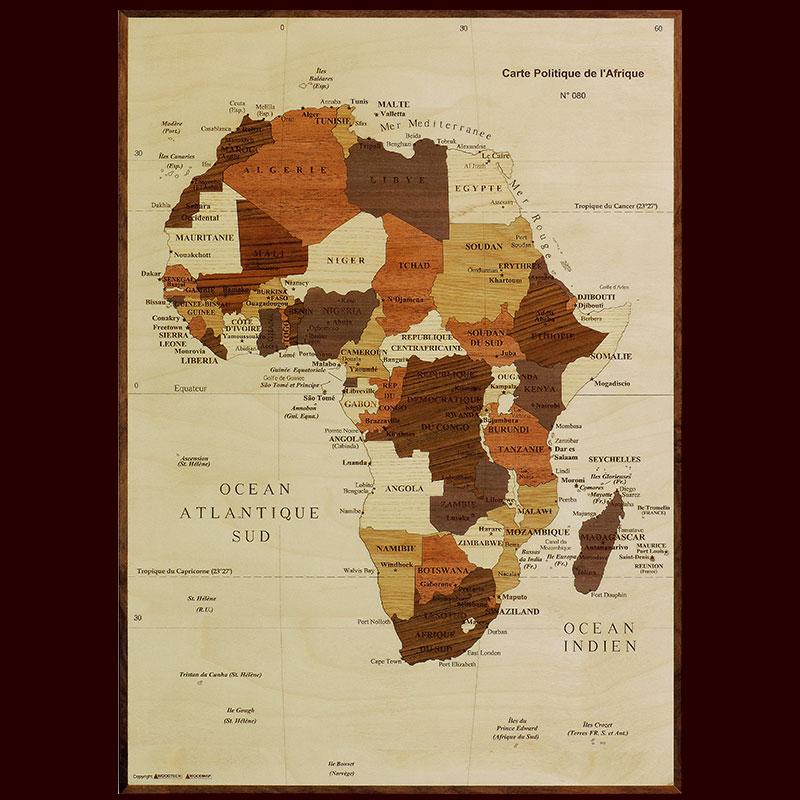 carte de l'afrique en marqueterie