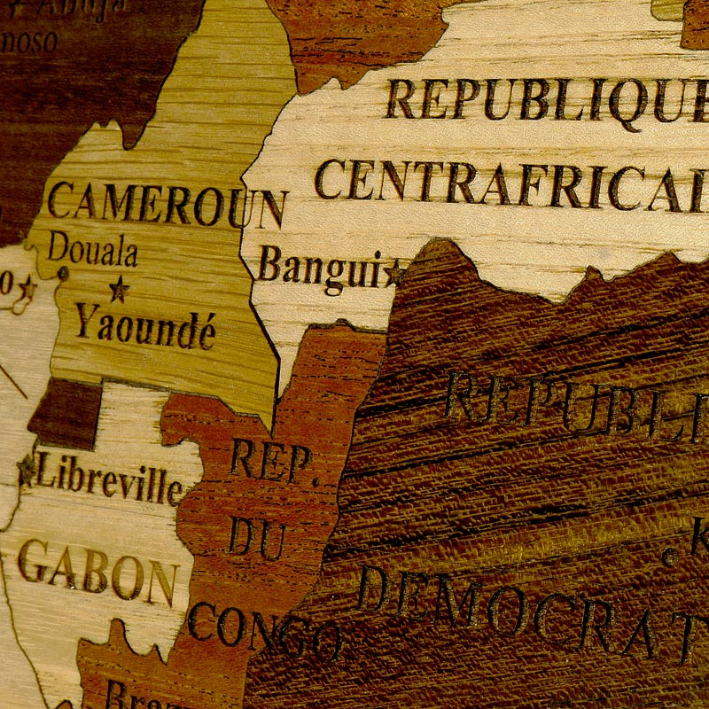 zoom sur les détails de la carte de l'Afrique