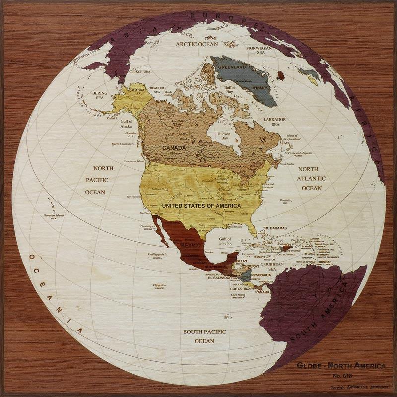 carte globe amerique nord