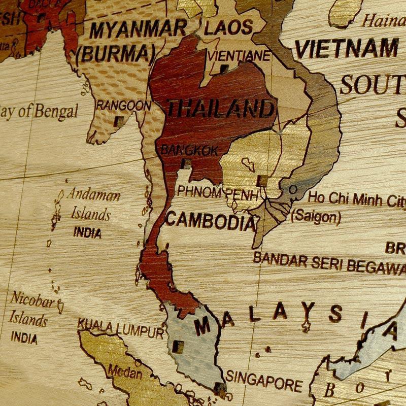 détails sur l'asie globe centré