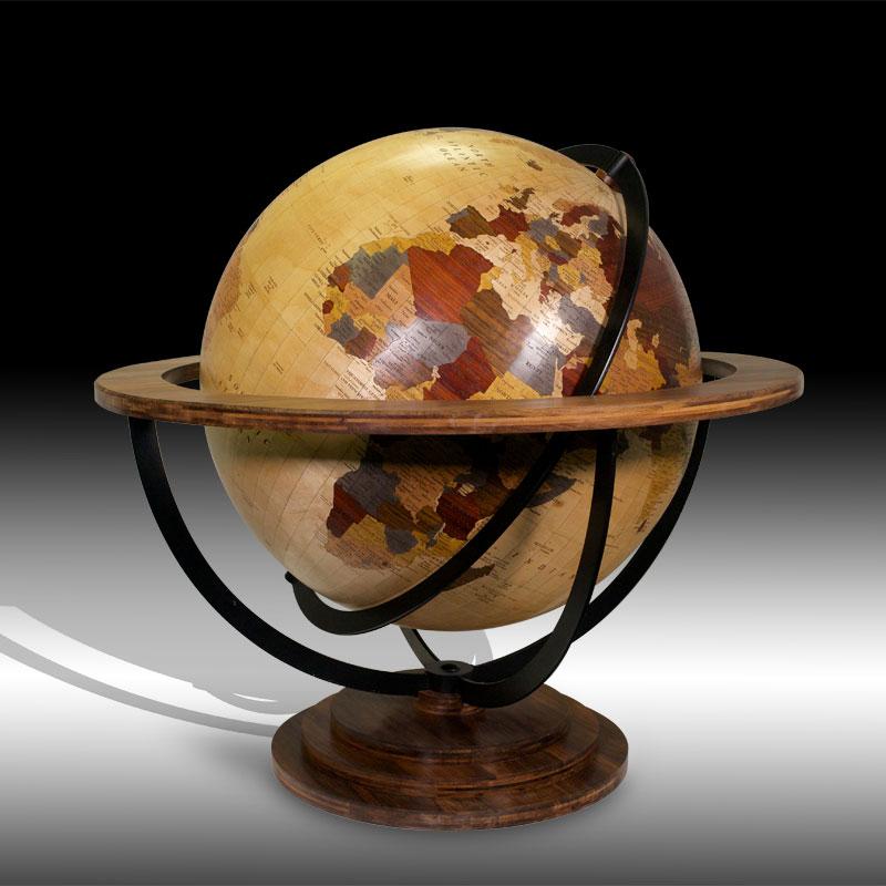 globe en marqueterie de bois précieux