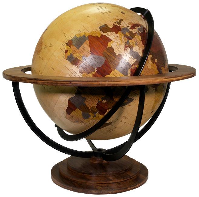 globe géopolitique en marqueterie