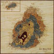 carte de l'île maurice en marqueterie