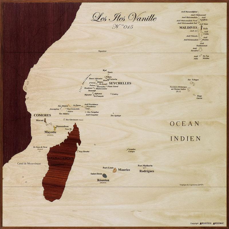 carte des îles vanille en marqueterie