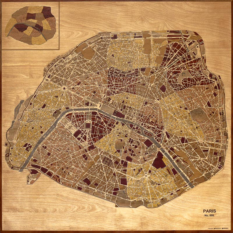 Carte de Paris en marqueterie