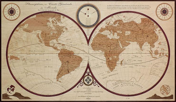 planisphère du monde antique marqueterie