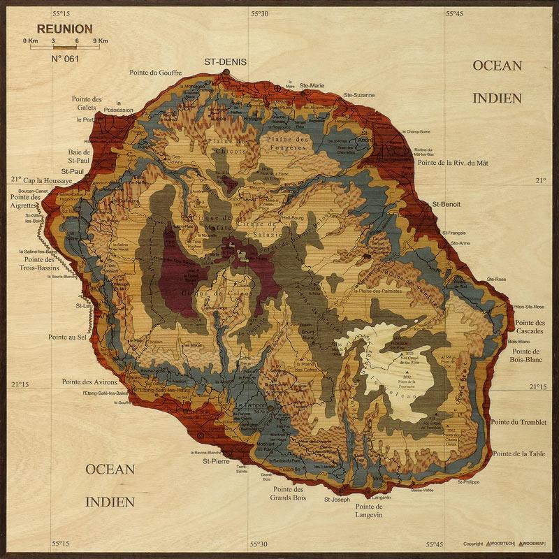 Carte De La Reunion Woodmap