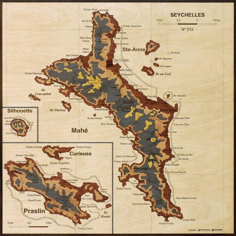 carte des seychelles en marqueterie