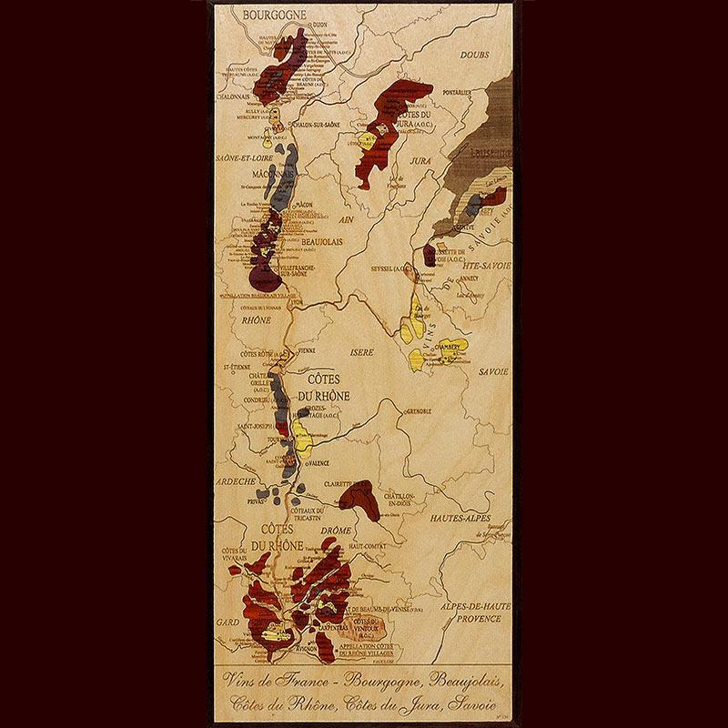 carte des vins du Rhône Beaujolais en marqueterie